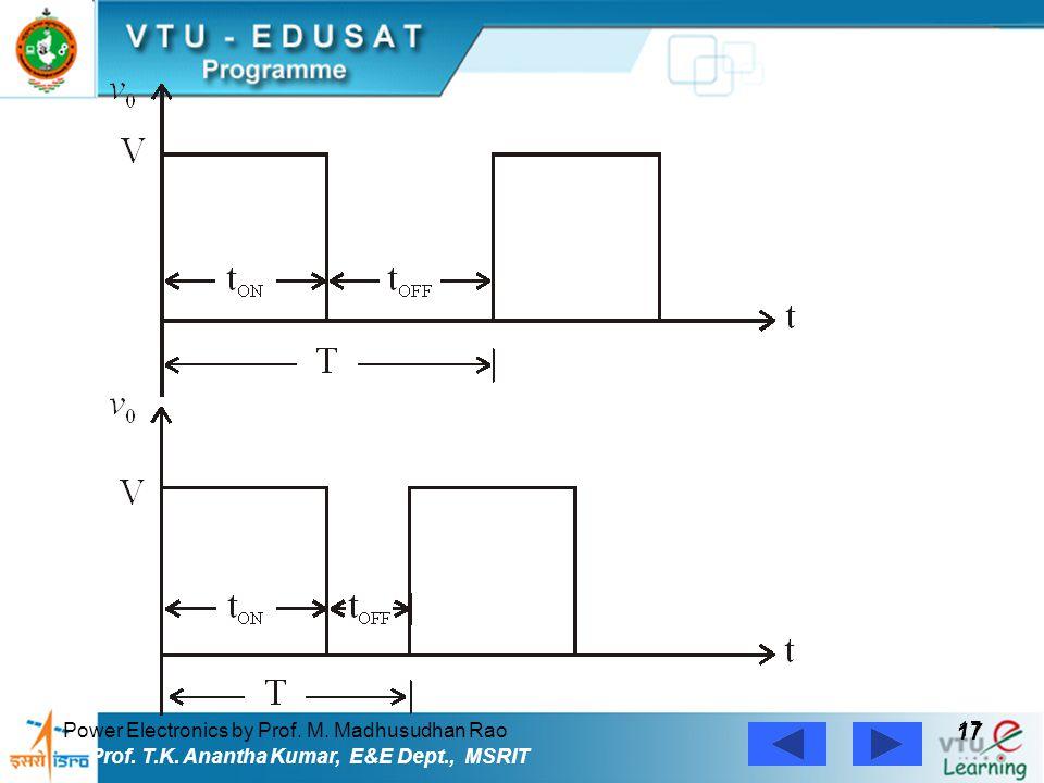 Power Electronics by Prof. M. Madhusudhan Rao 17 Prof. T.K. Anantha Kumar, E&E Dept., MSRIT