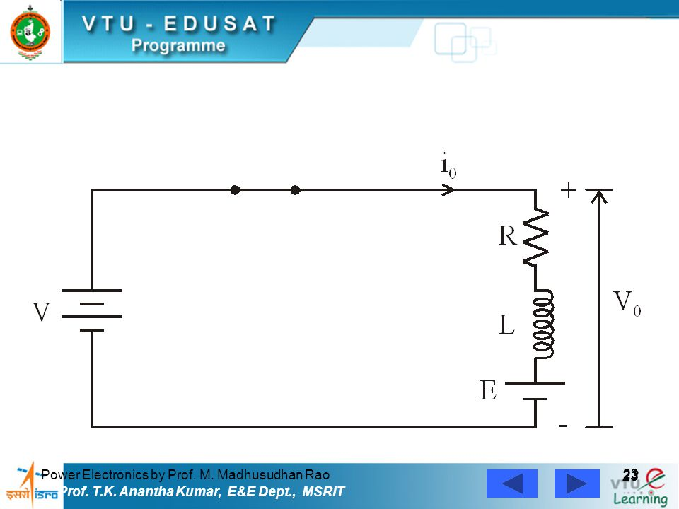 Power Electronics by Prof. M. Madhusudhan Rao 23 Prof. T.K. Anantha Kumar, E&E Dept., MSRIT