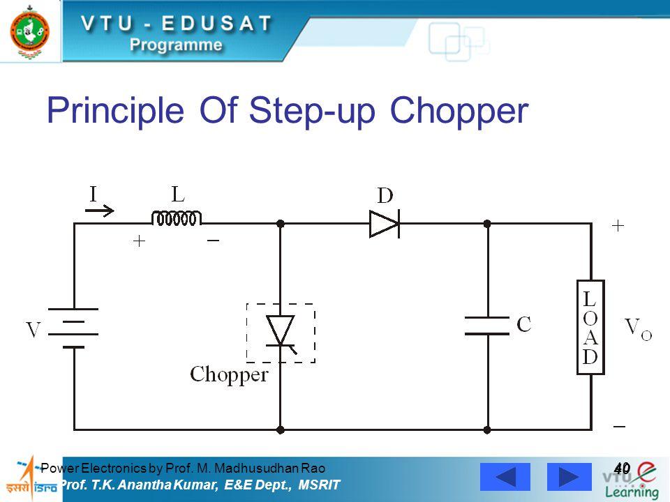 Power Electronics by Prof. M. Madhusudhan Rao 40 Prof. T.K. Anantha Kumar, E&E Dept., MSRIT Principle Of Step-up Chopper
