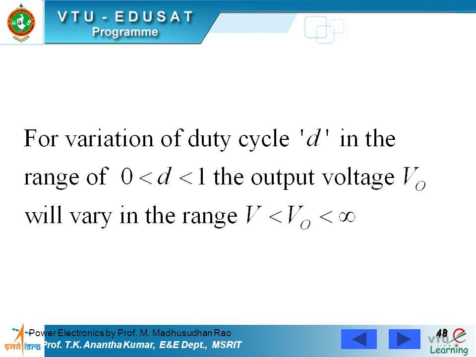 Power Electronics by Prof. M. Madhusudhan Rao 48 Prof. T.K. Anantha Kumar, E&E Dept., MSRIT