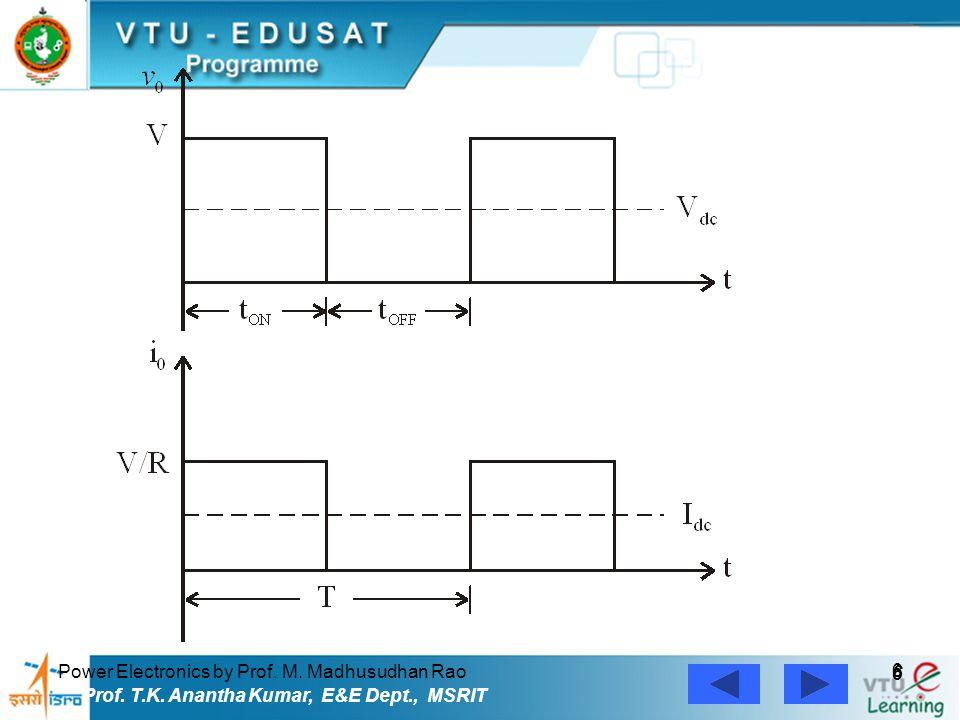 Power Electronics by Prof. M. Madhusudhan Rao 6 6 Prof. T.K. Anantha Kumar, E&E Dept., MSRIT