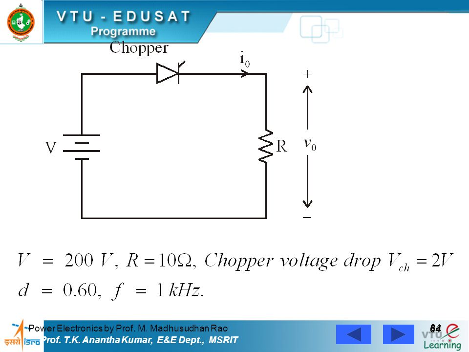 Power Electronics by Prof. M. Madhusudhan Rao 64 Prof. T.K. Anantha Kumar, E&E Dept., MSRIT