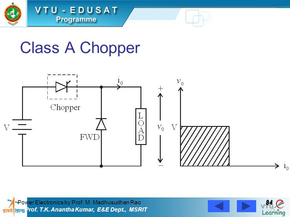 Power Electronics by Prof. M. Madhusudhan Rao 84 Prof. T.K. Anantha Kumar, E&E Dept., MSRIT Class A Chopper