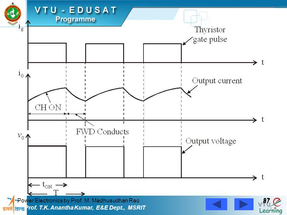 Power Electronics by Prof. M. Madhusudhan Rao 87 Prof. T.K. Anantha Kumar, E&E Dept., MSRIT