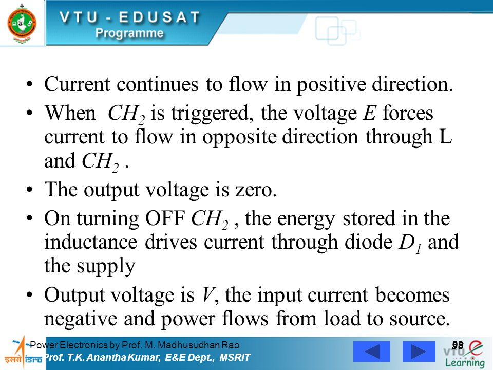 Power Electronics by Prof. M. Madhusudhan Rao 98 Prof. T.K. Anantha Kumar, E&E Dept., MSRIT Current continues to flow in positive direction. When CH 2
