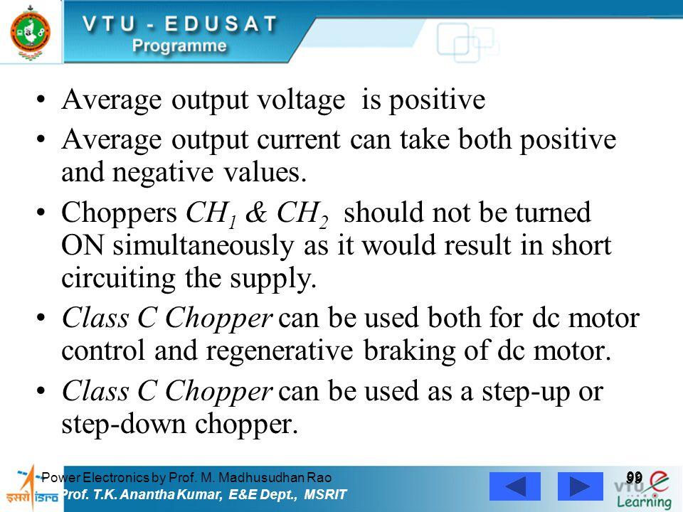 Power Electronics by Prof. M. Madhusudhan Rao 99 Prof. T.K. Anantha Kumar, E&E Dept., MSRIT Average output voltage is positive Average output current