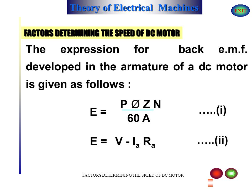 Theory of Electrical Machines EXIT DIFFERENT TYPES OF EXCITATIONS ( DC MOTORS ) DIFFERENTIAL TYPE ( DC COMPOUND MOTORS ) The direction of current in t