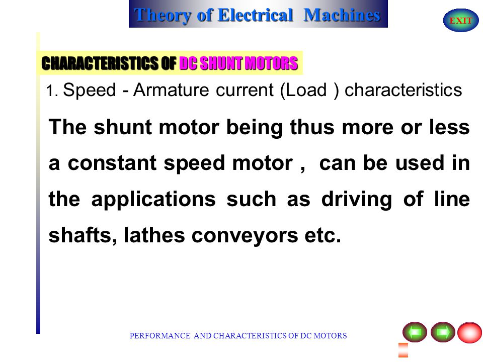 Theory of Electrical Machines EXIT CHARACTERISTICS OF DC SHUNT MOTORS increases, speed will decrease by a small amount due to an increase in I a R a d