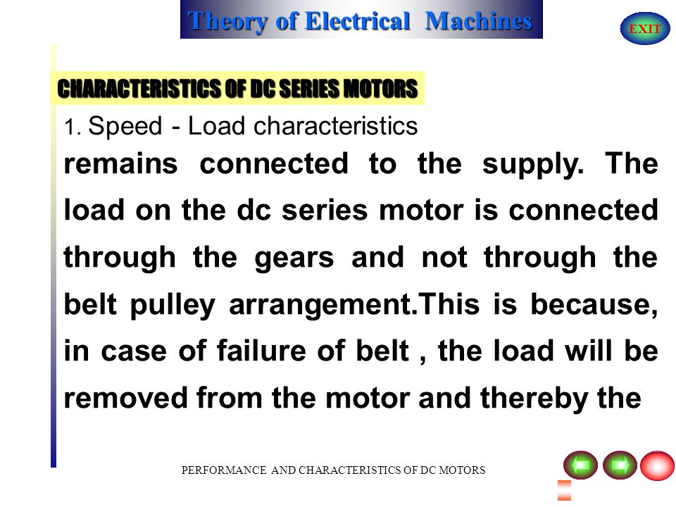 Theory of Electrical Machines EXIT PERFORMANCE AND CHARACTERISTICS OF DC MOTORS 1. Speed - Load characteristics normal speed which may cause damage to