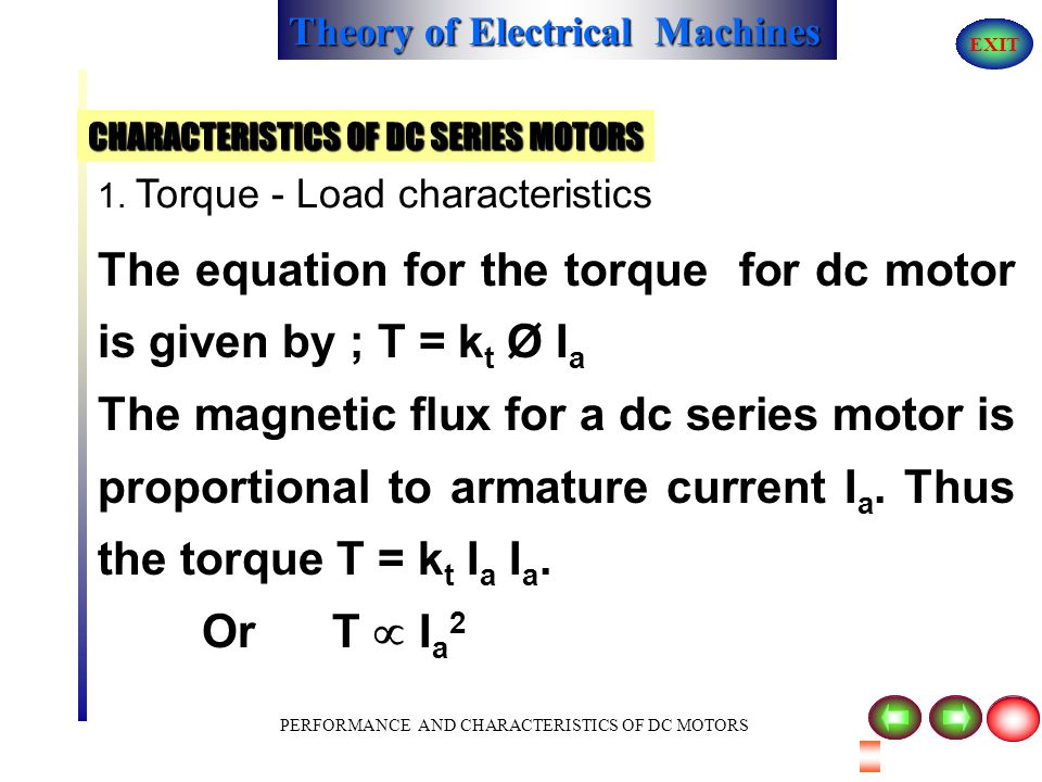 Theory of Electrical Machines EXIT PERFORMANCE AND CHARACTERISTICS OF DC MOTORS 1. Torque - Load characteristics T 0 IaIa ( Amps) SATURATION OF SERIES