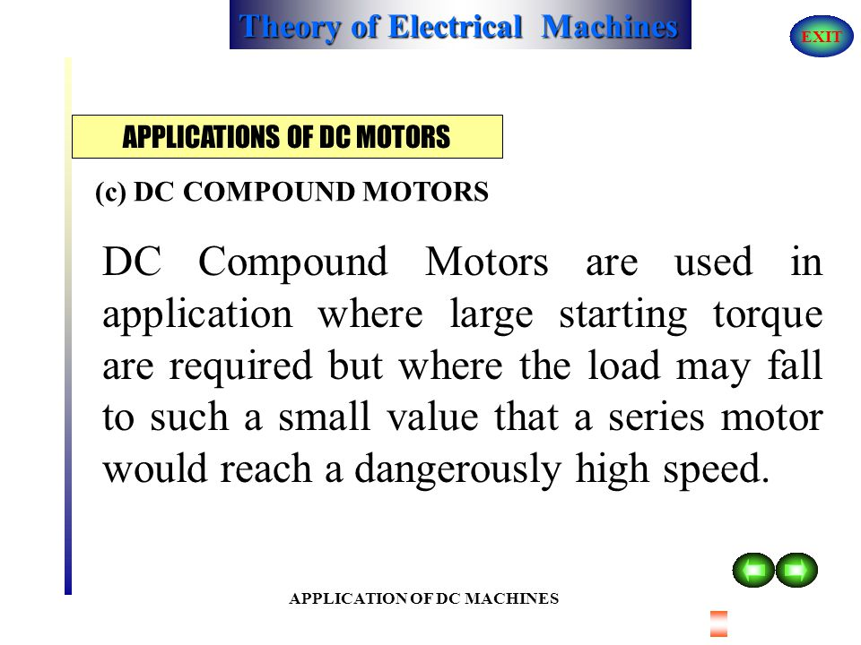 Theory of Electrical Machines EXIT APPLICATION OF DC MACHINES Series motors acquire very high speed at no-load or at very light load. That is why they