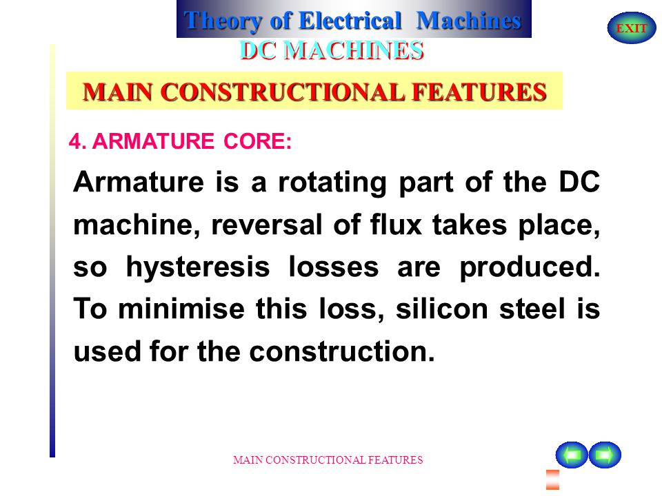 Theory of Electrical Machines EXIT MAIN CONSTRUCTIONAL FEATURES DC MACHINES MAIN CONSTRUCTIONAL FEATURES current is passed through these coils/ windin