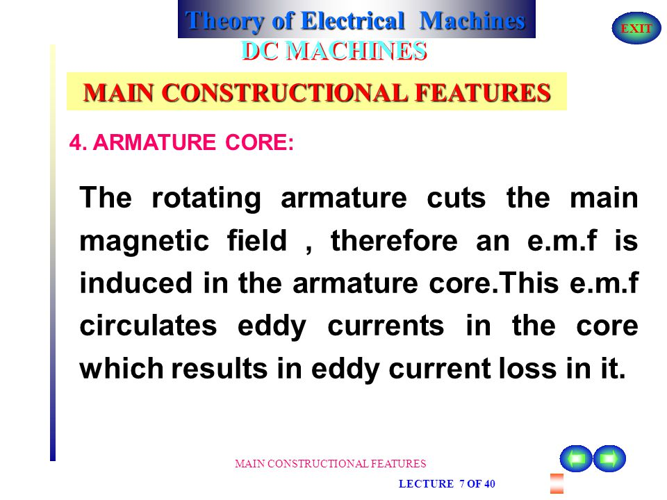 Theory of Electrical Machines EXIT MAIN CONSTRUCTIONAL FEATURES DC MACHINES MAIN CONSTRUCTIONAL FEATURES Armature is a rotating part of the DC machine