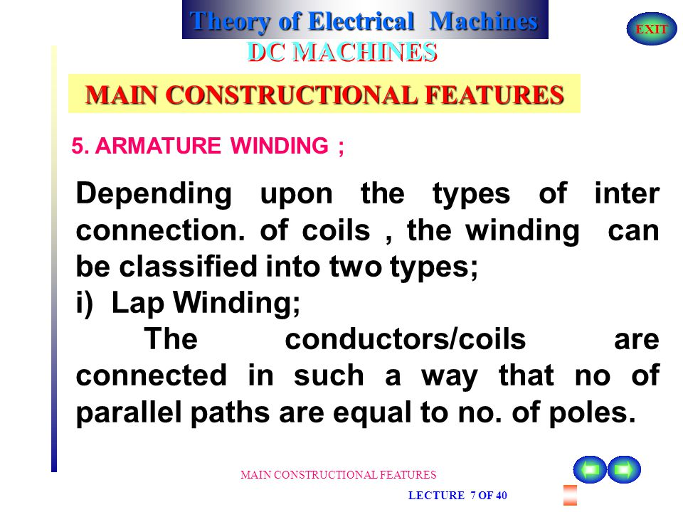 Theory of Electrical Machines EXIT MAIN CONSTRUCTIONAL FEATURES LECTURE 7 OF 40 DC MACHINES MAIN CONSTRUCTIONAL FEATURES 5. ARMATURE WINDING ; power i