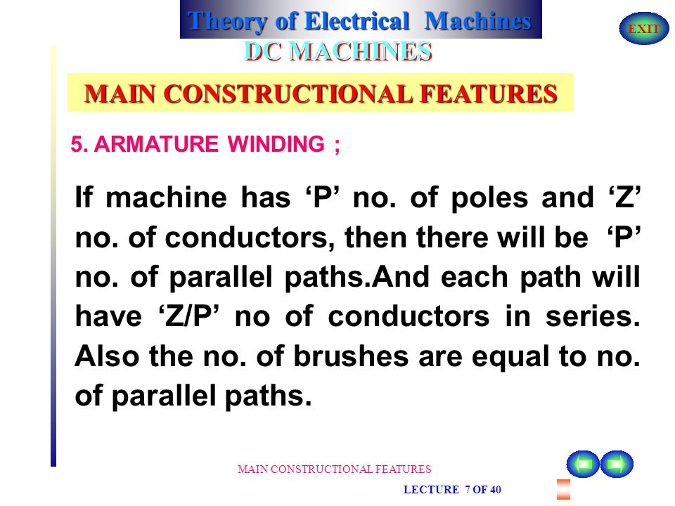Theory of Electrical Machines EXIT MAIN CONSTRUCTIONAL FEATURES LECTURE 7 OF 40 DC MACHINES MAIN CONSTRUCTIONAL FEATURES 5. ARMATURE WINDING ; Dependi