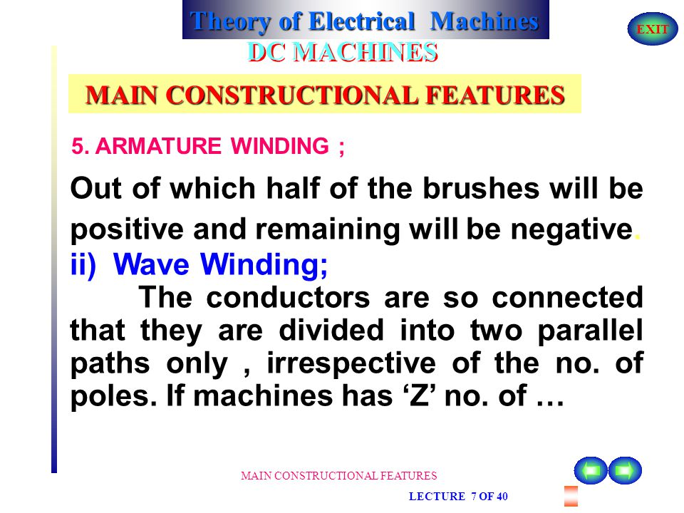 Theory of Electrical Machines EXIT MAIN CONSTRUCTIONAL FEATURES LECTURE 7 OF 40 DC MACHINES MAIN CONSTRUCTIONAL FEATURES 5. ARMATURE WINDING ; If mach