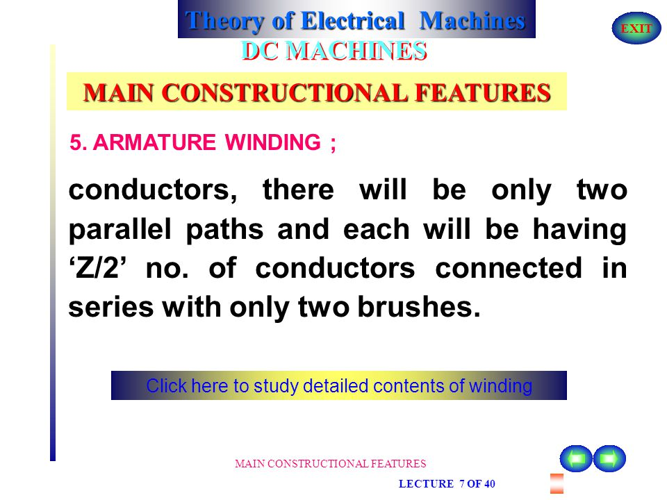 Theory of Electrical Machines EXIT MAIN CONSTRUCTIONAL FEATURES LECTURE 7 OF 40 DC MACHINES MAIN CONSTRUCTIONAL FEATURES 5. ARMATURE WINDING ; Out of