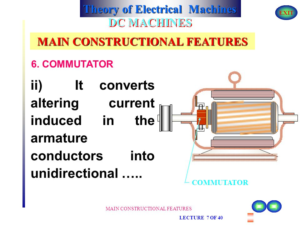 Theory of Electrical Machines EXIT MAIN CONSTRUCTIONAL FEATURES LECTURE 7 OF 40 DC MACHINES MAIN CONSTRUCTIONAL FEATURES 6. COMMUTATOR the rotating ar
