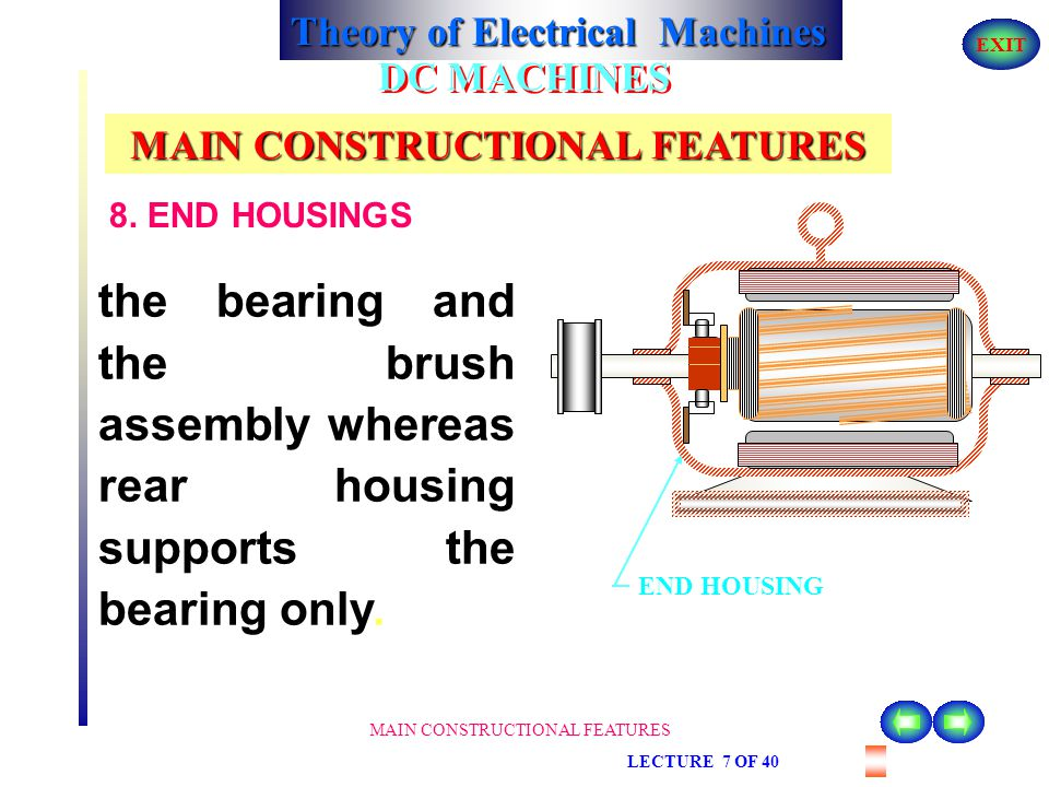 Theory of Electrical Machines EXIT MAIN CONSTRUCTIONAL FEATURES LECTURE 7 OF 40 DC MACHINES MAIN CONSTRUCTIONAL FEATURES 8. END HOUSINGS They are atta