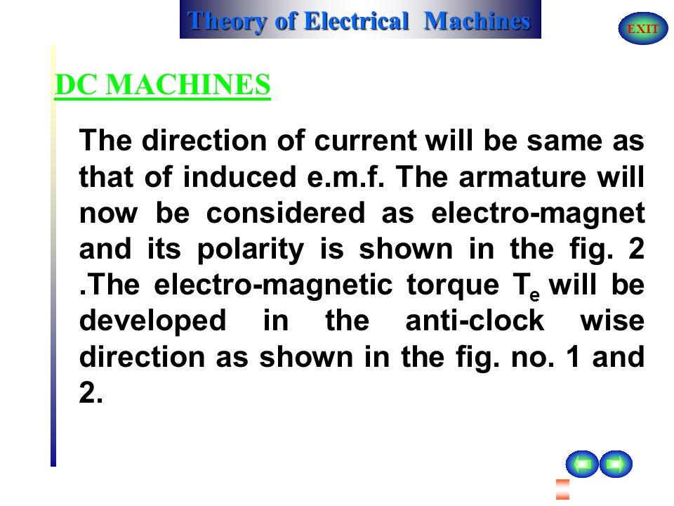 Theory of Electrical Machines EXIT DC MACHINES The direction of induced e.m.f will depend upon the direction of rotation of armature, if polarity of f