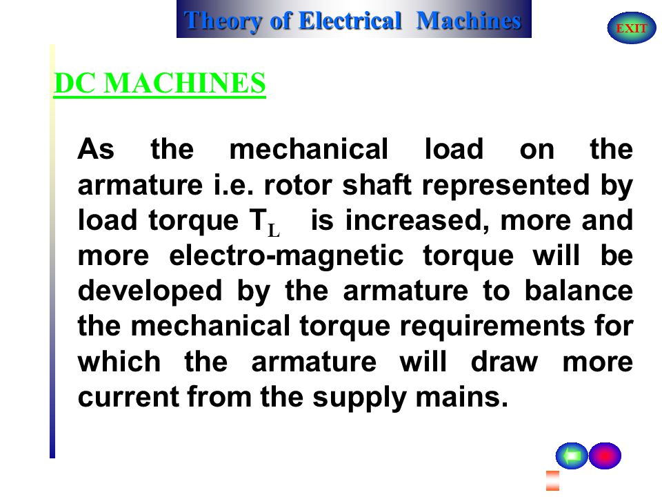 Theory of Electrical Machines EXIT DC MACHINES To reverse the direction of rotation of armature, either the direction of current in the field winding