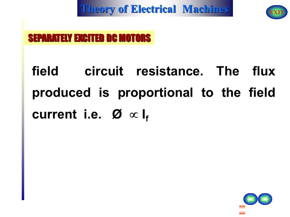 Theory of Electrical Machines EXIT The field winding is excited from a supply which is not connected to the armature winding. It may be noted that cur