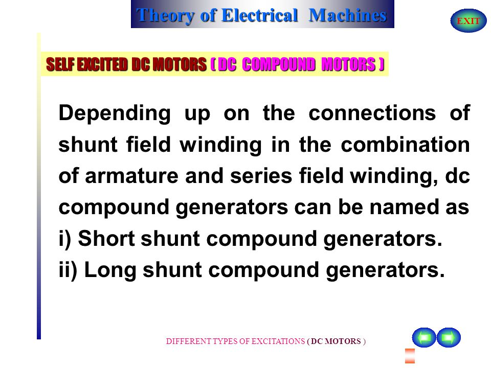 Theory of Electrical Machines EXIT DIFFERENT TYPES OF EXCITATIONS ( DC MOTORS ) SELF EXCITED DC MOTORS ( DC COMPOUND MOTORS ) or armature current I a.