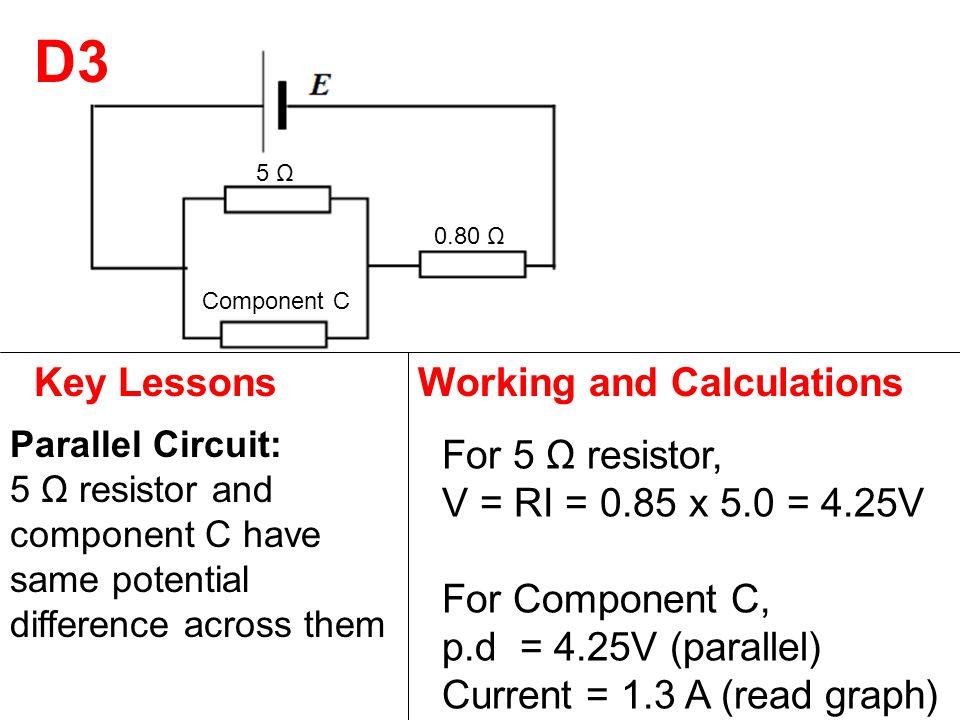 5 Ω 0.80 Ω Component C D3 Key LessonsWorking and Calculations Parallel Circuit: 5 Ω resistor and component C have same potential difference across them For 5 Ω resistor, V = RI = 0.85 x 5.0 = 4.25V For Component C, p.d = 4.25V (parallel) Current = 1.3 A (read graph)