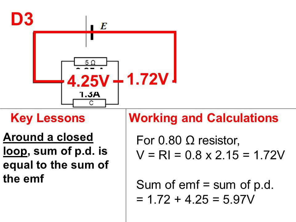5 Ω 0.80 Ω C D3 Key LessonsWorking and Calculations Around a closed loop, sum of p.d. is equal to the sum of the emf For 0.80 Ω resistor, V = RI = 0.8
