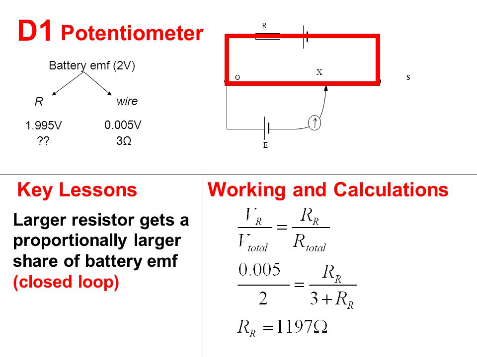 D1 Key LessonsWorking and Calculations Larger resistor gets a proportionally larger share of battery emf (closed loop) Potentiometer O E X S R Battery emf (2V) 0.005V 1.995V wire R 3Ω3Ω