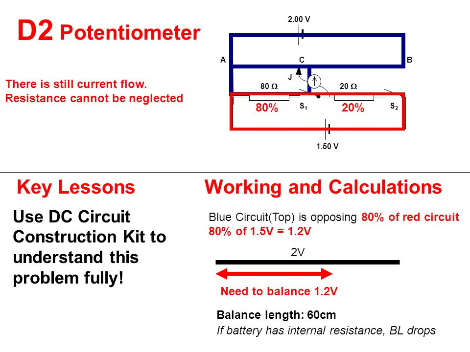 D2 Key LessonsWorking and Calculations Use DC Circuit Construction Kit to understand this problem fully.