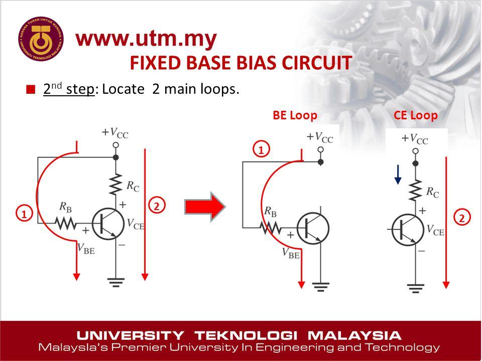 FIXED BASE BIAS CIRCUIT ■ 2 nd step: Locate 2 main loops. 1 2 1 2 BE LoopCE Loop