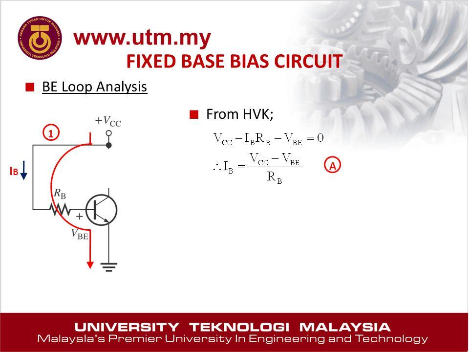 FIXED BASE BIAS CIRCUIT ■ BE Loop Analysis 1 ■ From HVK; IBIB A