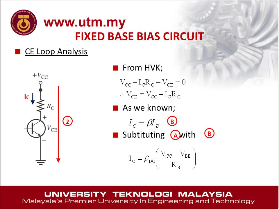 FIXED BASE BIAS CIRCUIT ■ CE Loop Analysis ■ From HVK; ■ As we known; ■ Subtituting with 2 ICIC B A B
