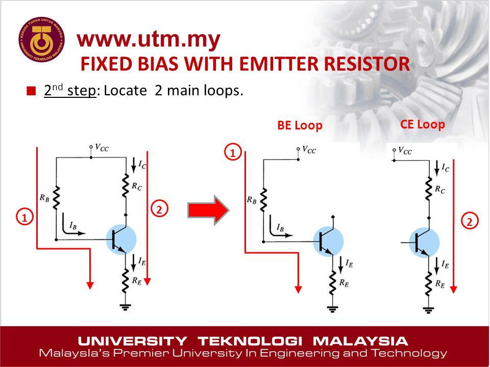 FIXED BIAS WITH EMITTER RESISTOR ■ 2 nd step: Locate 2 main loops. 1 2 2 BE Loop CE Loop 1
