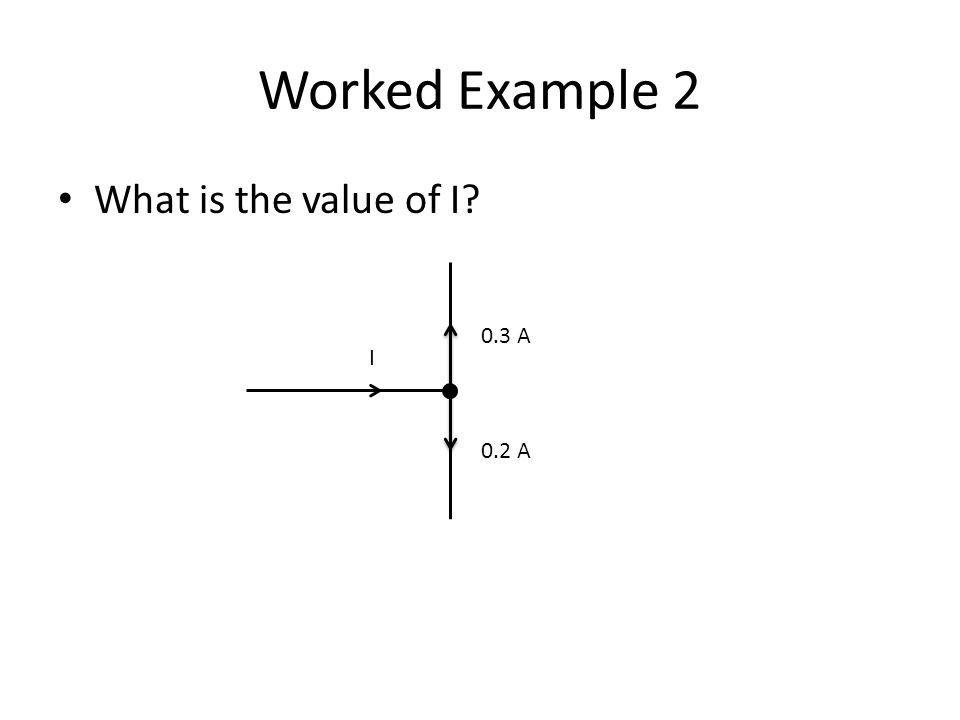 Worked Example 2 What is the value of I? I 0.3 A 0.2 A