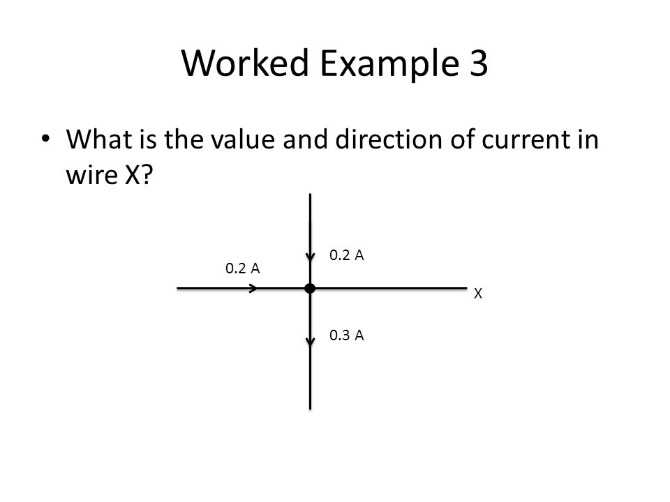 Worked Example 3 What is the value and direction of current in wire X? 0.2 A 0.3 A 0.2 A X