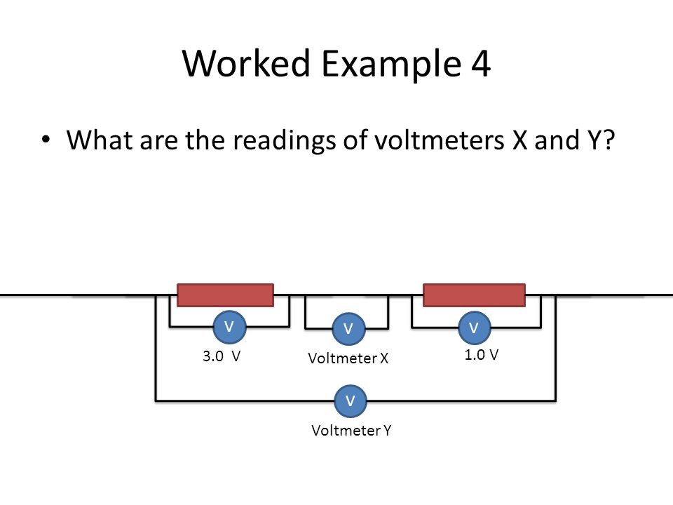 Worked Example 4 What are the readings of voltmeters X and Y? V V V V 3.0 V Voltmeter Y 1.0 V Voltmeter X