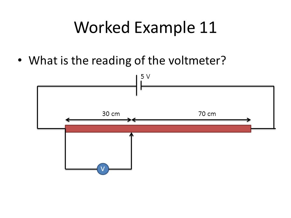 Worked Example 11 What is the reading of the voltmeter? V 30 cm70 cm 5 V
