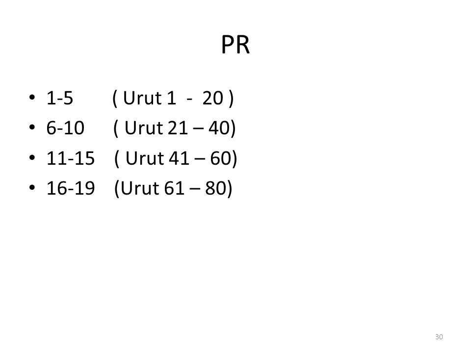 PR 1-5 ( Urut 1 - 20 ) 6-10 ( Urut 21 – 40) 11-15 ( Urut 41 – 60) 16-19 (Urut 61 – 80) 30