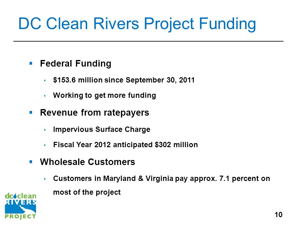 DC Clean Rivers Project Funding  Federal Funding $153.6 million since September 30, 2011 Working to get more funding  Revenue from ratepayers Impervious Surface Charge Fiscal Year 2012 anticipated $302 million  Wholesale Customers Customers in Maryland & Virginia pay approx.
