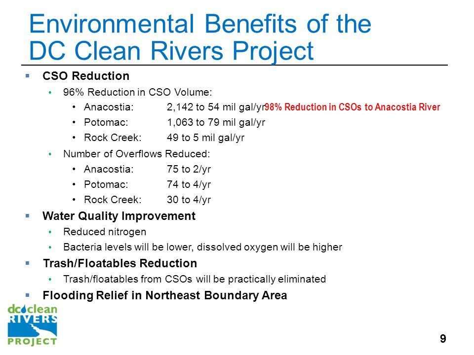 Contact Us  For more information about today's presentation, email: Emanuel Briggs; emanuel.briggs@dcwater.com emanuel.briggs@dcwater.com  For periodic program updates, visit us online at: www.dcwater.com/workzones/projects/cleanrivers.cfm District of Columbia Water and Sewer Authority 5000 Overlook Ave, SW Washington, DC 20032 20