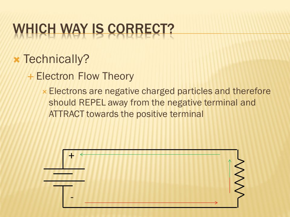  This diagram shows Electron Flow Theory  Electrical flow starts at the negative terminal of the source and flows through the system returning to th