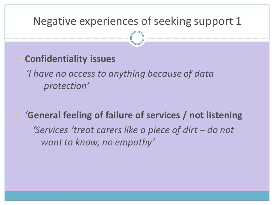 Negative experiences of seeking support 1 Confidentiality issues 'I have no access to anything because of data protection' 'General feeling of failure of services / not listening 'Services 'treat carers like a piece of dirt – do not want to know, no empathy'