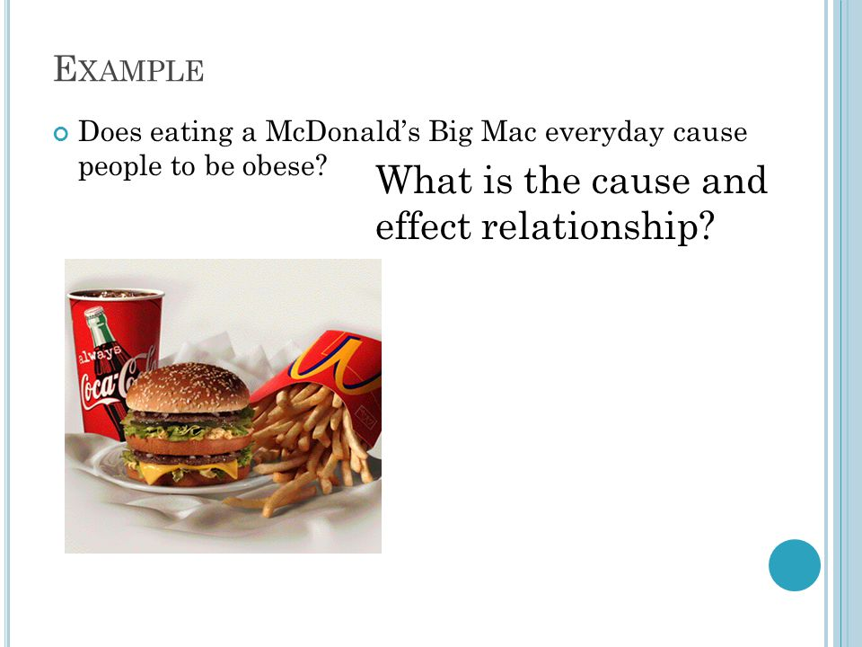 E XAMPLE Does eating a McDonald's Big Mac everyday cause people to be obese.