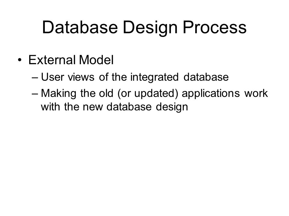 Database Design Process External Model –User views of the integrated database –Making the old (or updated) applications work with the new database design