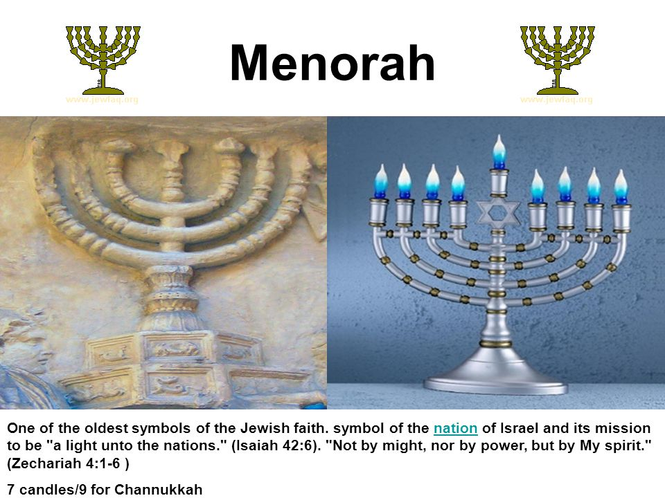 Menorah One of the oldest symbols of the Jewish faith.