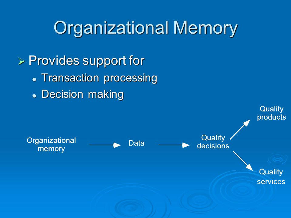 Organizational Memory  Provides support for Transaction processing Transaction processing Decision making Decision making services Organizational memory Data Quality decisions Quality products Quality
