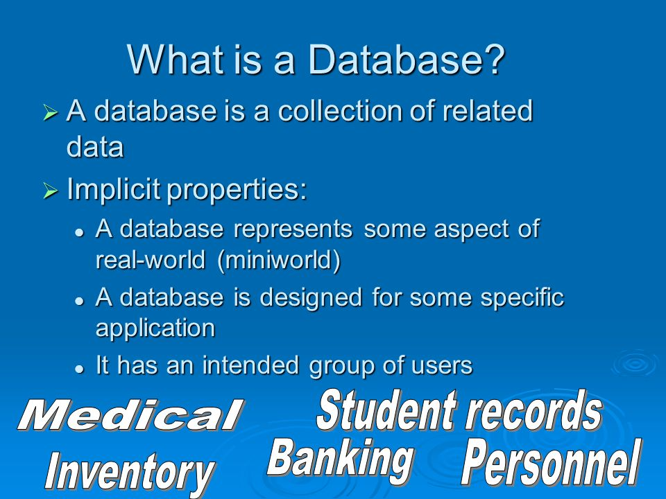 Components of the Database Environment   CASE Tools – computer-aided software engineering   Repository – centralized storehouse of metadata   Database Management System (DBMS) – software for managing the database   Database – storehouse of the data   Application Programs – software using the data   User Interface – text and graphical displays to users   Data Administrators – personnel responsible for maintaining the database   System Developers – personnel responsible for designing databases and software   End Users – people who use the applications and databases