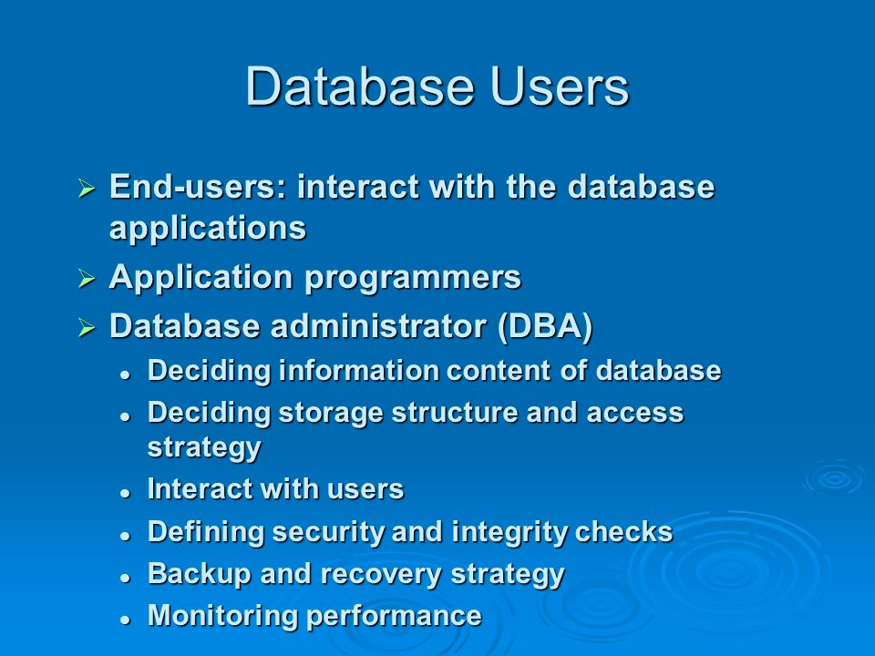 Range of Database Applications  PC databases Usually for individual Usually for individual  Workgroup databases Small group use where everyone has access to the database over a LAN Small group use where everyone has access to the database over a LAN  Departmental databases Larger than a workgroup – but similar Larger than a workgroup – but similar  Enterprises databases For the entire organization over an intranet (or sometimes the internet) For the entire organization over an intranet (or sometimes the internet)